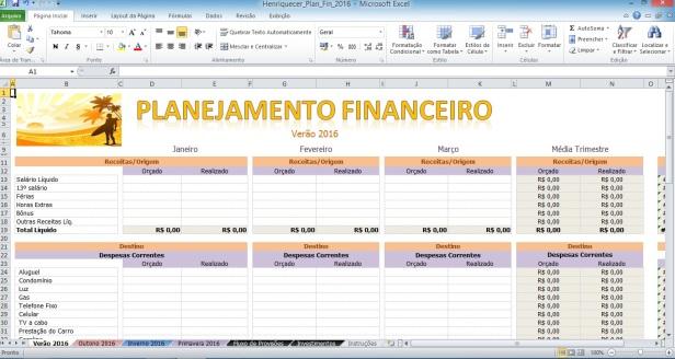 Planejamento Financeiro em Excel