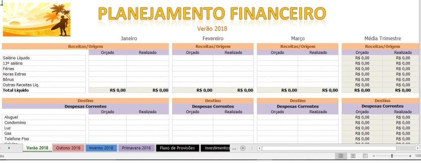 Planejamento Financeiro 2018