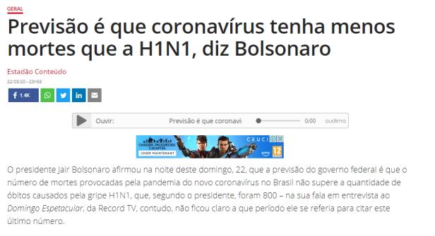 Corona H1N1 Bolsonaro